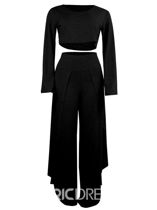 Ericdress Sports Split Wide Legs Round Neck Women's Suit T-Shirt And Pants Two Piece Sets