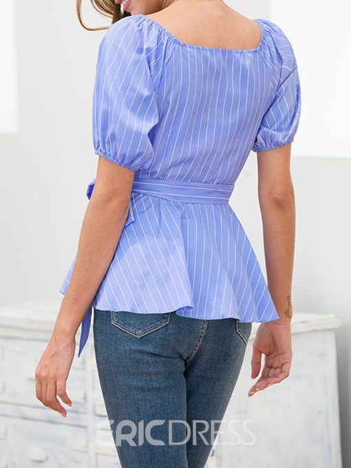 Ericdress V-Neck Stripe Short Sleeve Lace-Up Slim Blouse