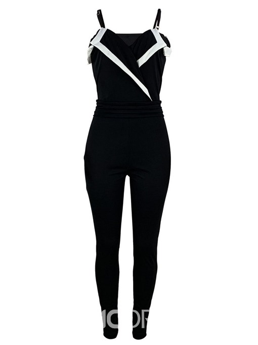 Ericdress Color Block Patchwork High Waist Skinny Jumpsuit