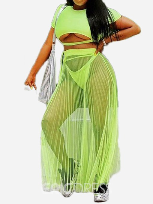 Ericdress Sexy Mesh Plain Pullover Pleated Women's Suit T-Shirt And Skirt Two Piece Sets