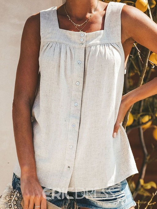 Ericdress Pleated Suspenders Button Mid-Length Casual Tank Top
