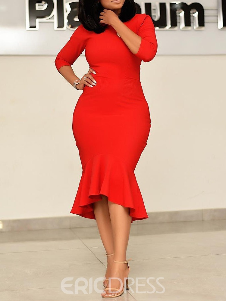 Ericdress Mermaid Mid-Calf Round Neck Three-Quarter Sleeve Plain Red Dress