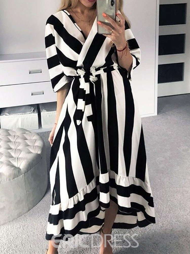 Ericdress Asymmetrical Striped Ankle-Length V-Neck Batwing Sleeve Dress