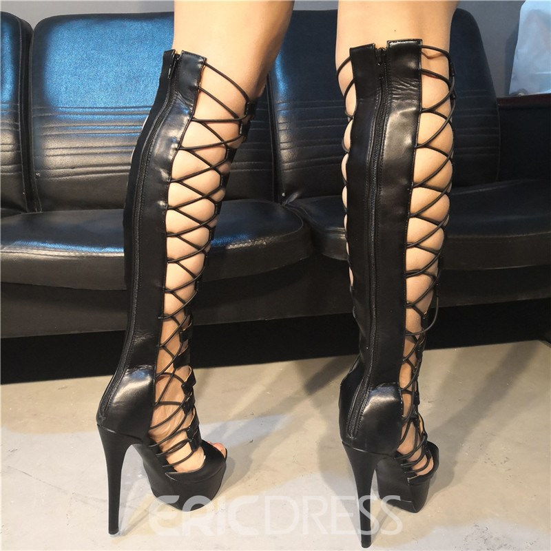 Ericdress Round Toe Back Zip Platform Women's Knee High Boots