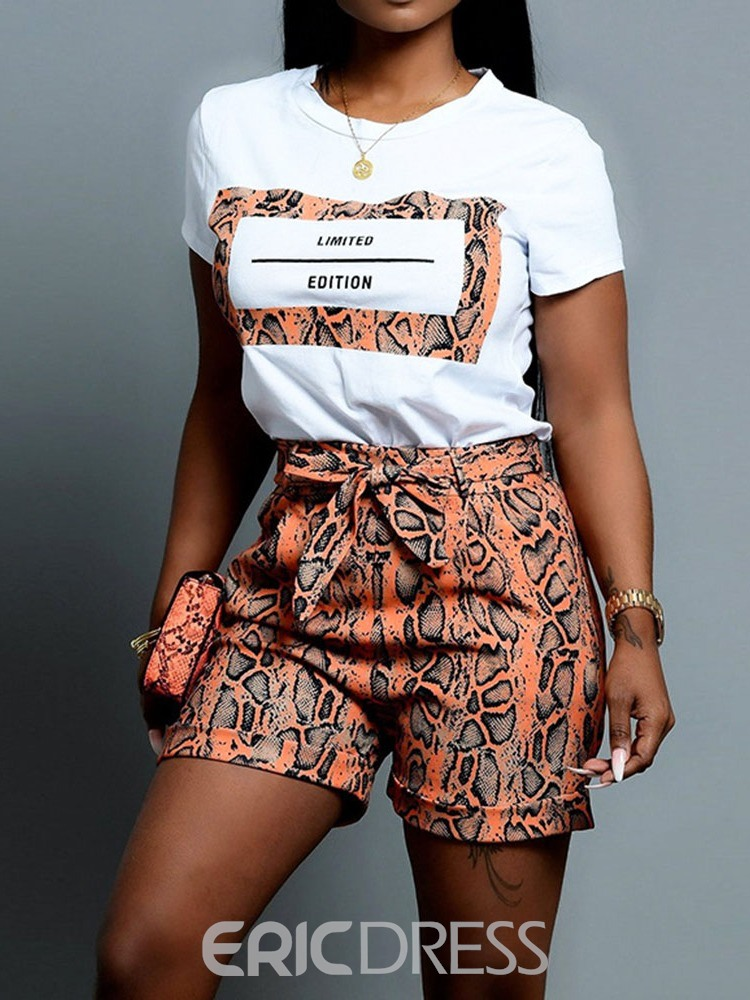 Ericdress Serpentine Casual Pullover Straight Women's Suit T-Shirt And Shorts Two Piece Sets