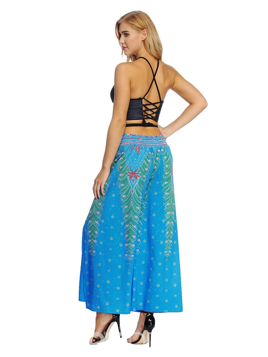 Ericdress Color Block Print Breathable High Waist Wide Leg Pants
