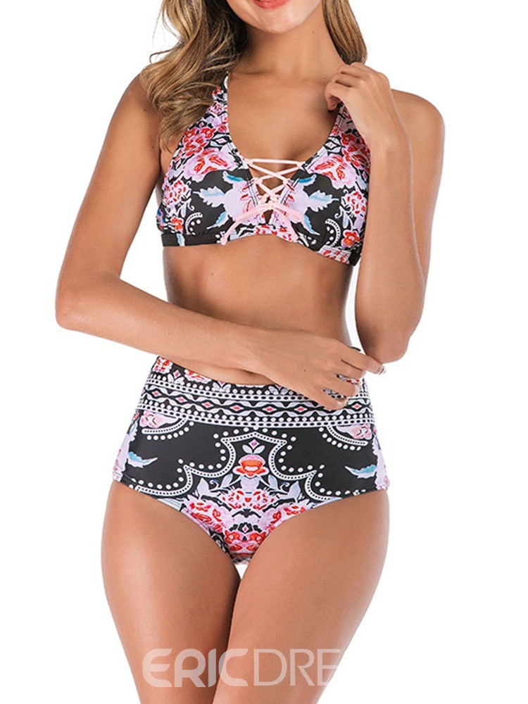 Ericdress Lace-Up Print Color Block Sexy Swimsuit