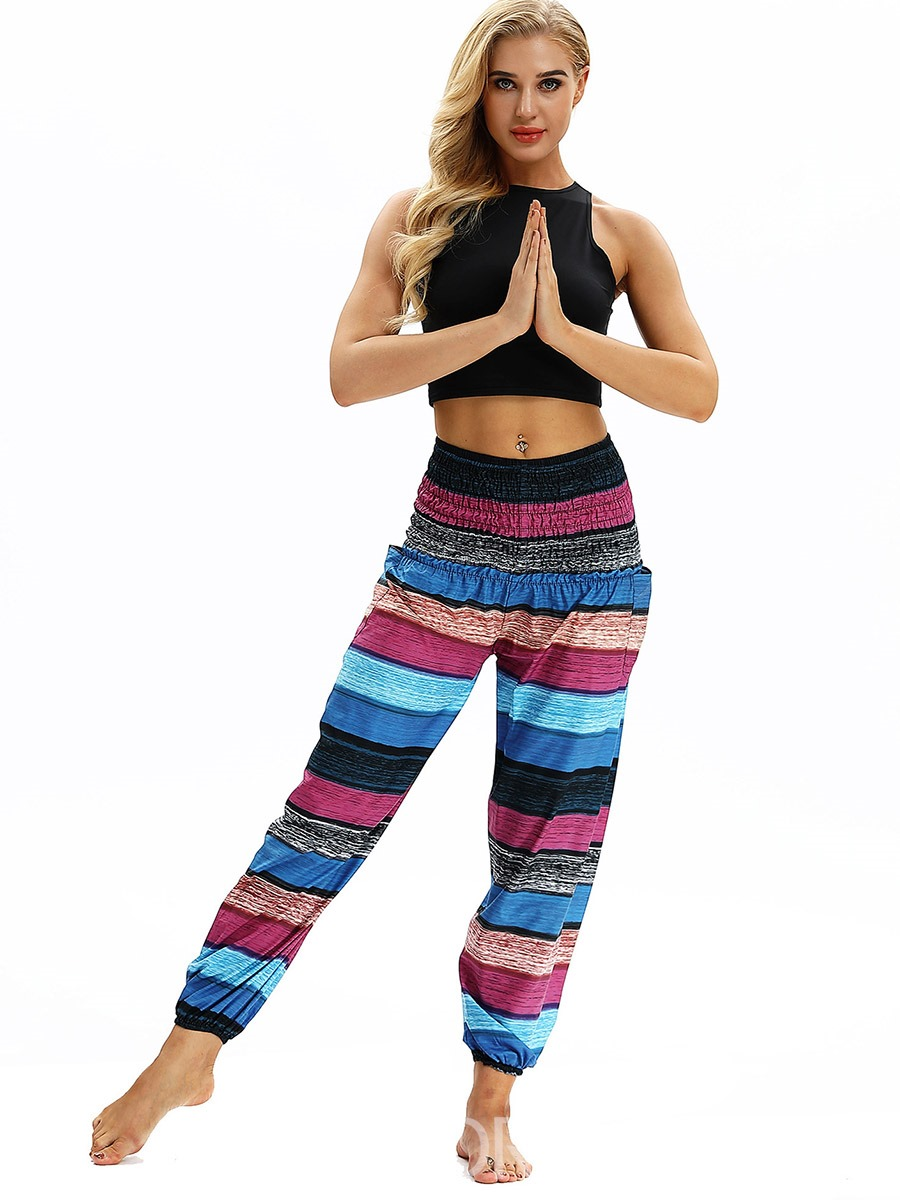 Ericdress Color Block Breathable Print Yoga Pants