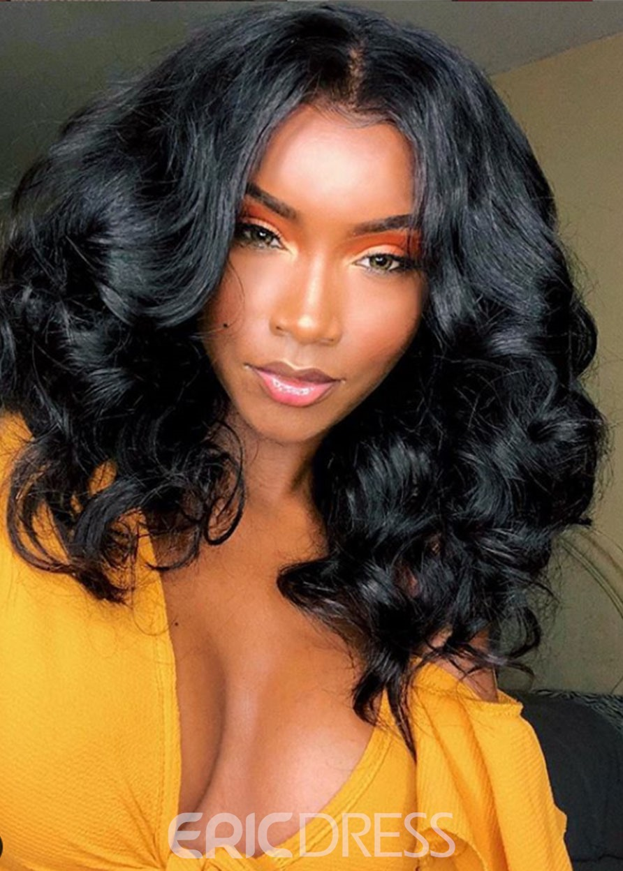 Ericdress Women's Medium Hairstyles Body Wave 100% Human Hair Wigs Lace Front Cap Wigs 14Inches