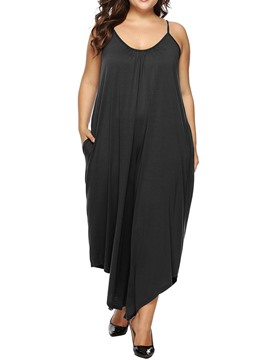 Ericdress Plus Size Asymmetrical Plain High Waist Loose Jumpsuit