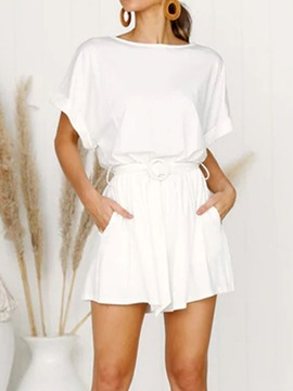 ericdress shorts date night plain lockerer overall mit hoher taille
