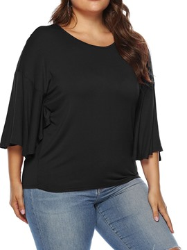 Ericdress Plus Size Round Neck Plain Mid-Length Loose T-Shirt