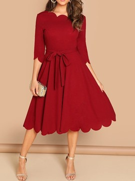 Ericdress Plus Size Wave Cut A-Line Mid-Calf Half Sleeve Regular Red Dress