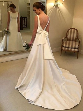 Ericdress Bowknot Bateau Neck Backess Wedding Dress 2019