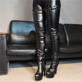 Ericdress Rivet Side Zipper Round Toe Women's Over The Knee Boots