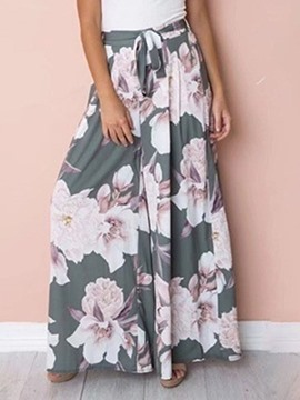 Ericdress Print Floral Loose Full Length High Waist Casual Pants
