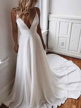 Ericdress Spaghetti Straps Beading Appliques Country Wedding Dress 2019