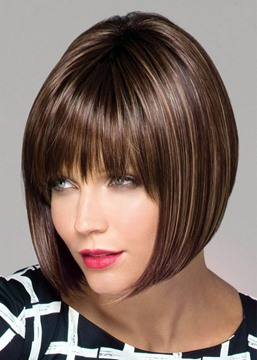 Ericdress Medium Bob Hairstyles Women's Dark Brown Straight Synthetic Hair Lace Front Wigs 14Inches