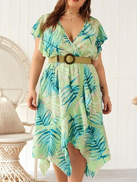Ericdress Plus Size Print V-Neck Asymmetrical Short Sleeve Summer Dress(Without Waistband)