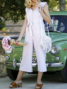 Ericdress Stringy Selvedge Button Wide Legs High Waist Jumpsuit