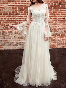 Ericdress Long Sleeves Beading Appliques Wedding Dress