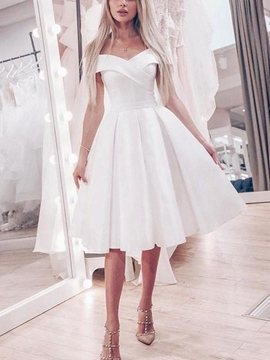 Ericdress Off-The-Shoulder Knee-Length Beach Wedding Dress 2019