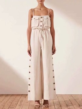 Ericdress Lace-Up Plain Button Loose Wide Legs Jumpsuit
