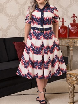 Ericdress Plus Size Lapel Print Short Sleeve A-Line Single-Breasted Dress
