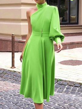 Ericdress Asymmetric A-Line Turtleneck Lantern Sleeve Green Dress