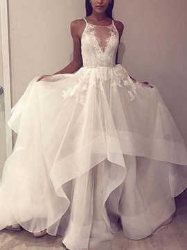 Ericdress Tiered Spaghetti Straps Lace Wedding Dress 2019