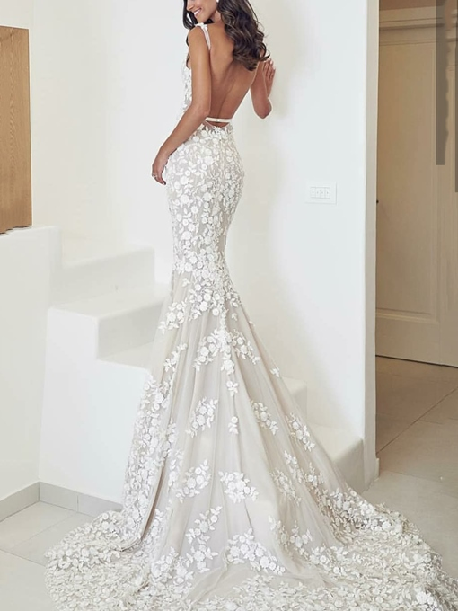 Ericdress Appliques Mermaid Backless Wedding Dress 2019