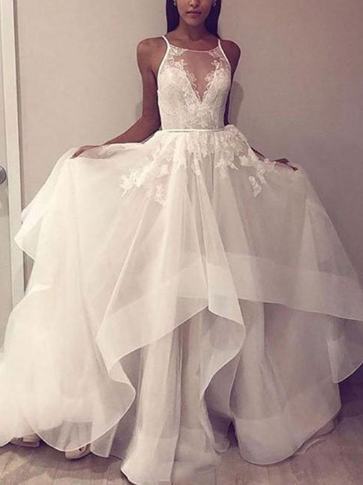 Ericdress Tiered Spaghetti Straps Lace Wedding Dress
