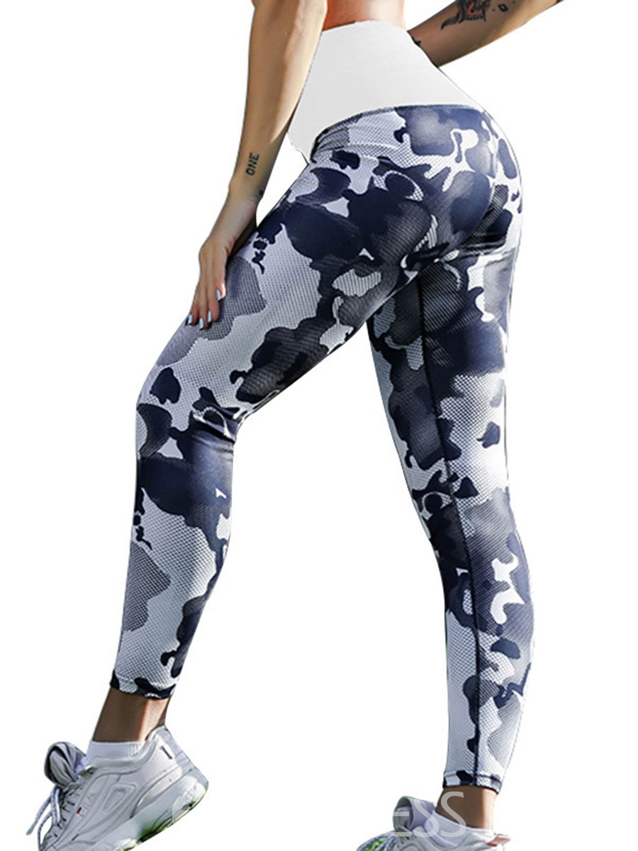 Ericdress Camouflage Print Drawstring Yoga Women's Leggings