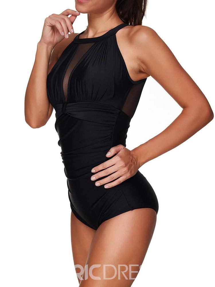 Ericdress One Piece Pleated Patechwork Mesh Stretchy Sexy Swimwear