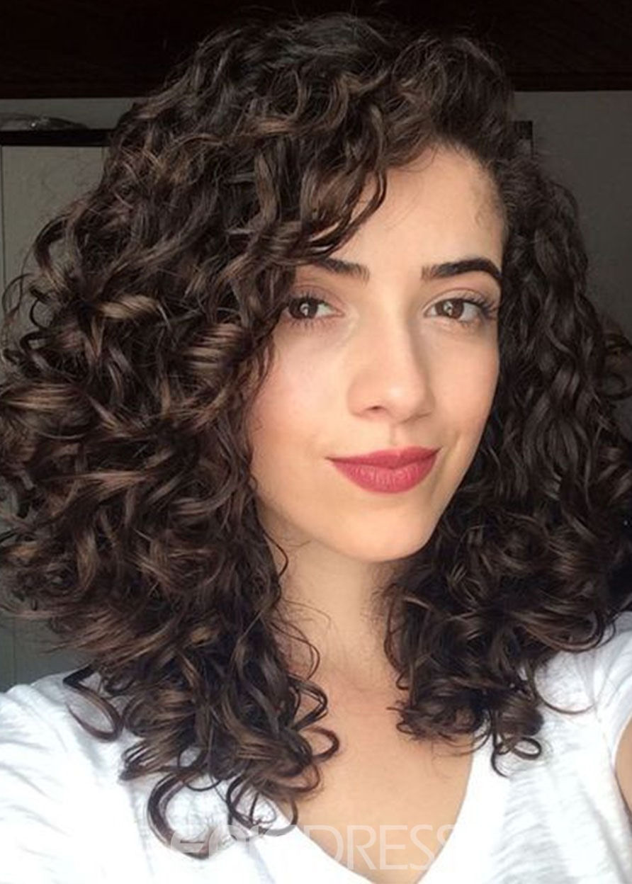 Ericdress Women's Mid Length Curly 100% Human Hair Wigs Lace Front Cap Wigs 20Inches