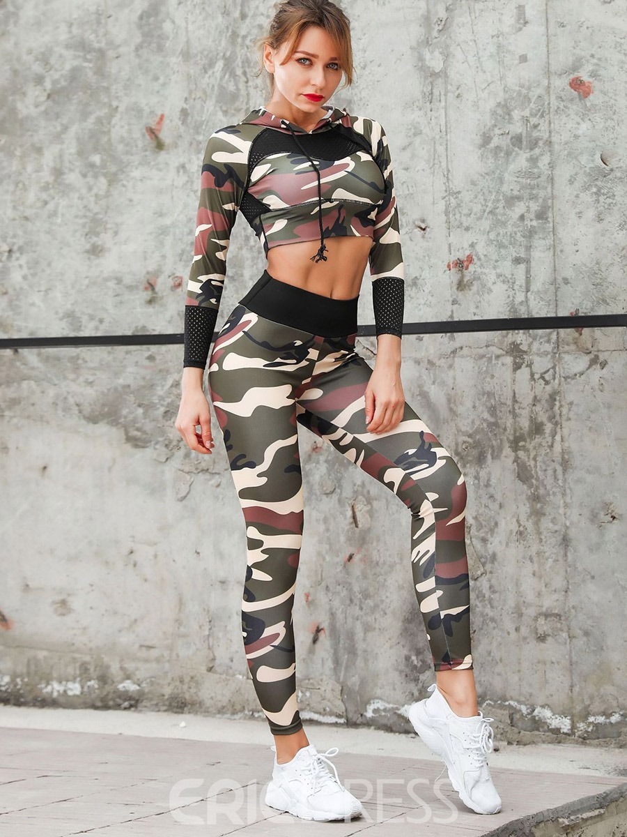 Ericdress Camouflage Print Breathable Long Sleeves Women's Workout Set