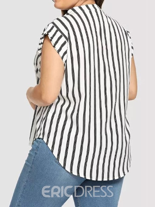 Ericdress Plus Size V-Neck Stripe Color Block Short Sleeve Casual Blouse