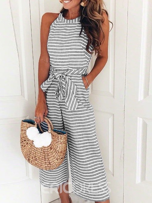 Ericdress Stripe Casual Loose Wide Legs Jumpsuit