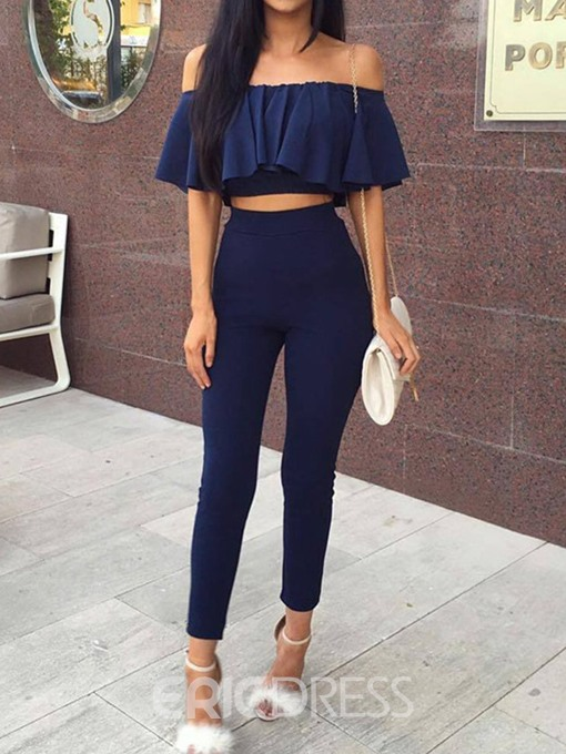 Ericdress Plain Off Shoulder Skinny Women's Suit T-Shirt And Pants Two Piece Sets