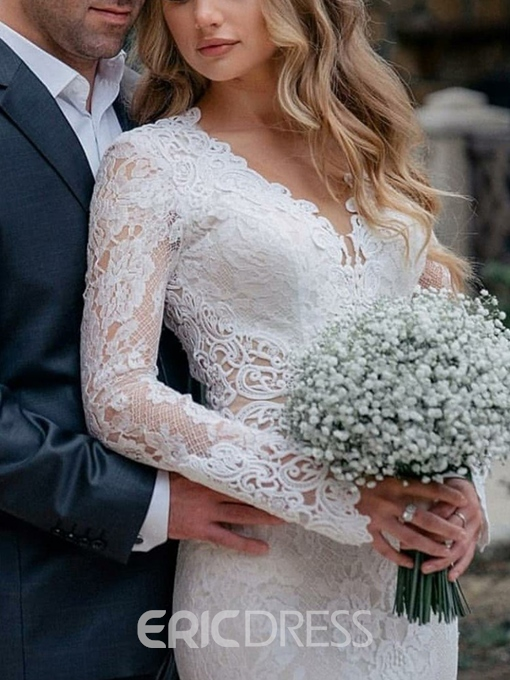 Ericdress Long Sleeves Mermaid Lace Wedding Dress with Train