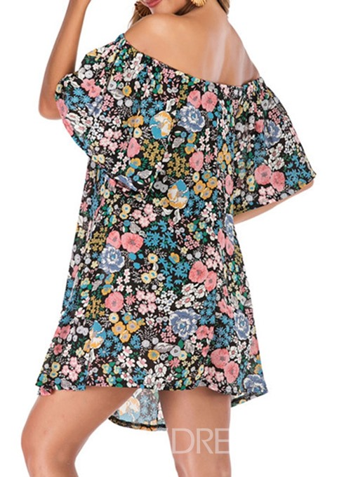 Ericdress Floral Above Knee Print Off Shoulder Short Sleeve High Waist A-Line Dress