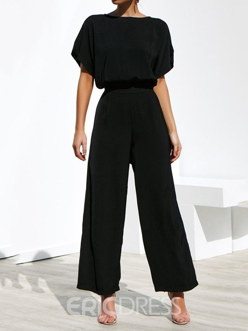 Ericdress Black Skinny Wear to Work Fashion Women's Suit T-Shirt And Pants Two Piece Sets