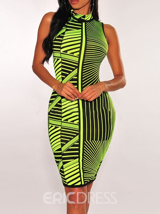 Ericdress Knee-Length Sleeveless Print Bodycon Geometric Dress