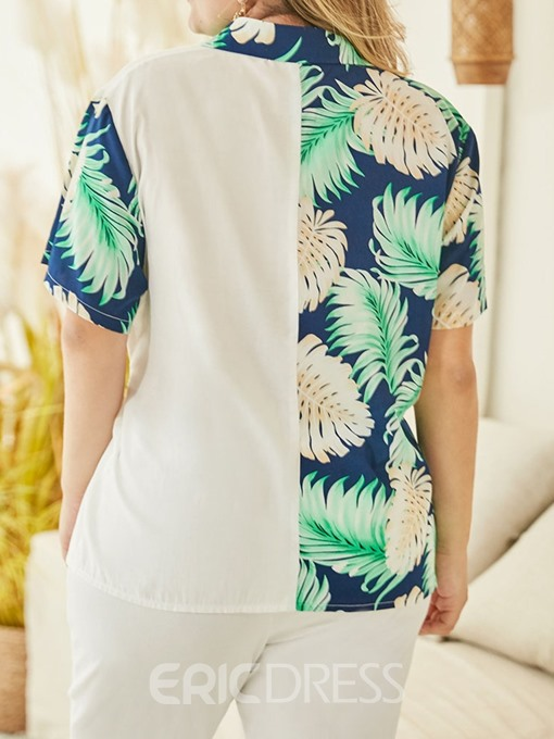 Ericdress Plus Size Plant Print Lapel Lace-Up Short Sleeve Fashion Blouse