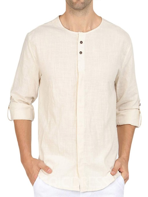 Ericdress Plain Button Men's Loose Single-Breasted Shirt