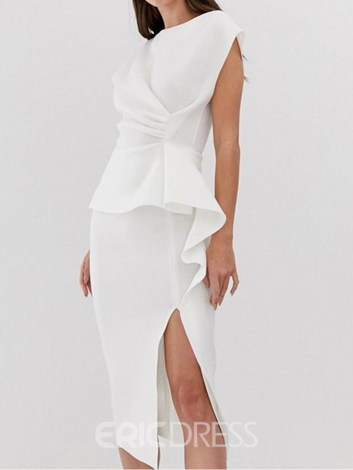 Ericdress Ruffled OL Mid-Calf Round Neck Short Sleeve White Bodycon Dress