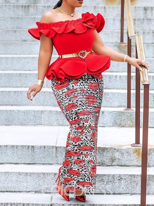 Ericdress African Fashion Off Shoulder Bodycon Ruffles Ankle-Length Dress(Without Waistband)