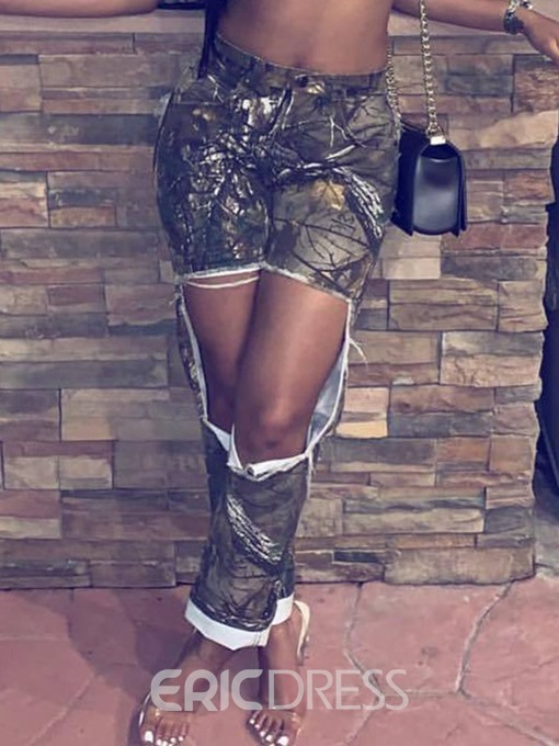 Ericdress Print Ripped Print Loose Mid Waist Jeans
