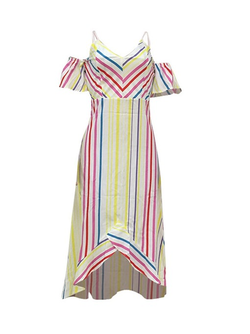 Ericdress Asymmetrical Striped V-Neck Mid-Calf Cold Shoulder Casual Dress