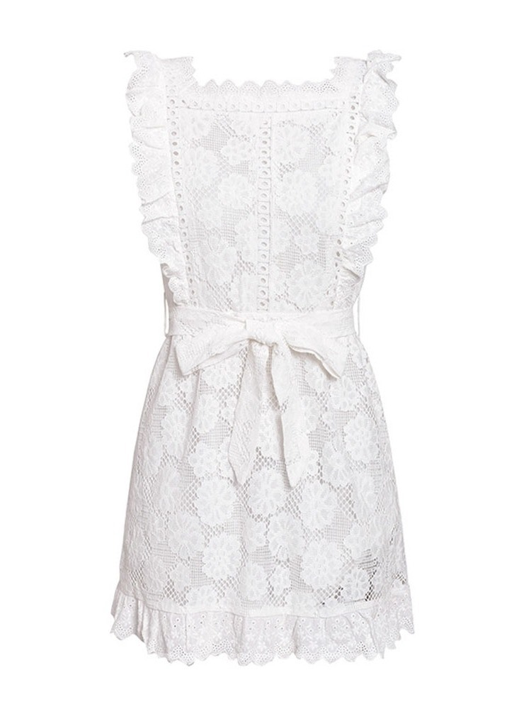 Ericdress Cap Sleeve Hollow Above Knee Plain Lace Dress